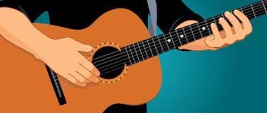Händer som spelar den horisontalgitarren Royaltyfri Bild