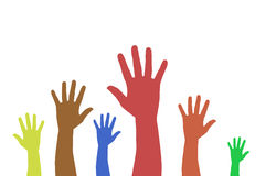 händer som ställa upp som frivillig röstning Arkivbilder