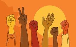 Händer som stiger i politisk protest Arkivbild