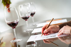 Händer som tar anmärkningar på vinavsmakning Arkivbilder
