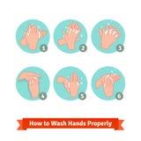 Händer som tvättar medicinska anvisningar Arkivfoto