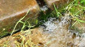 Händer som tvättar sig i nytt kristallklart vatten från den steniga lantliga springbrunnen Naturligt dricksvatten från berget arkivfilmer