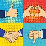 Händer som visar dövstumet olika gester den mänskliga armen, rymmer stil för konst för pop för handlag för kommunikations- och ri Royaltyfria Bilder