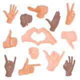 Händer som visar olika gester på den vita mänskliga näven för design för kommunikation och för riktning för armhållsamling Arkivfoton