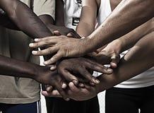 Händer tillsammans i union Royaltyfri Bild