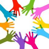 Händer tillsammans, inga stordiaeffekter Arkivbilder
