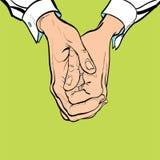 händer två Två knäppte fast händer Sitt på ett händer för ` s handman s Krage för handled för man` s vit Royaltyfri Bild