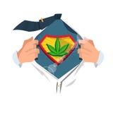 Händer upp med marijuanabladet servicebegrepp - Arkivfoto