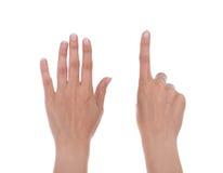 Händer visar numret sex Fotografering för Bildbyråer