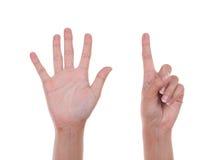 Händer visar numret sex Royaltyfri Foto