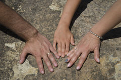 Händerna av en famil Arkivfoto