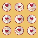 Händerna av förälskelse stock illustrationer