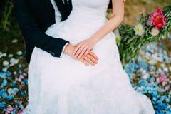 Händerna av nygifta personerna med cirklar Arkivfoto