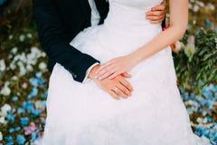 Händerna av nygifta personerna med cirklar Royaltyfria Foton