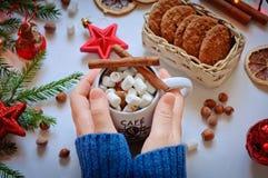 Händerna för flicka` s rymmer en kopp av kakao med marshmallowen och kanel Royaltyfri Bild