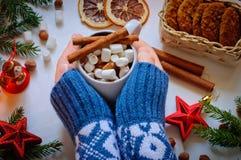 Händerna för flicka` s rymmer en kopp av kakao med marshmallowen och kanel Fotografering för Bildbyråer