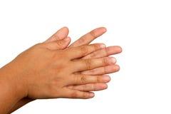 Händewaschenverfahren, dritter Schritt, wirkliches Handfoto Lizenzfreies Stockfoto