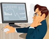 Händler mit Monitor Lizenzfreies Stockfoto
