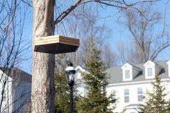 hänga för fågelförlagematare Arkivfoton