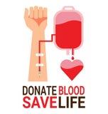 Hänga löst blod med handen av givaren för världsblodgivaredag Arkivfoto