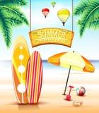 Hängande bågtecken för sommar som surfar på stranden med surfingbrädor royaltyfri illustrationer
