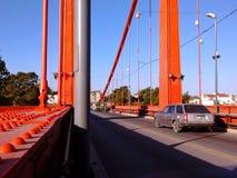 Hängande bro, Necochea arkivfoto
