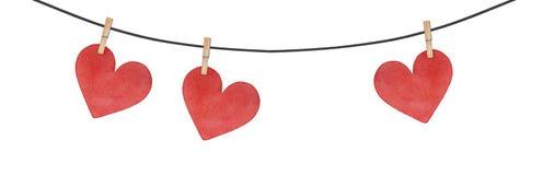 Hängande feriegirland med röda hjärtor royaltyfri illustrationer