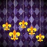 Hängande garnering för Mardi grasemblem royaltyfri illustrationer