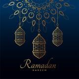 Hängande guld- lampor för ramadan kareemfestival stock illustrationer