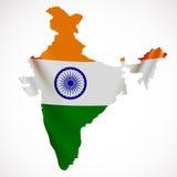 Hängande Indien flagga i form av översikten Republiken Indien Nationsflaggabegrepp stock illustrationer