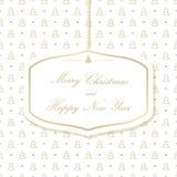 Hängande julkort på en bakgrund med julgranar Glad jul och lyckligt nytt år Royaltyfri Bild