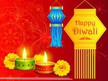 Hängande kandillykta med diyaen för lycklig Diwali ferie av Indien royaltyfri illustrationer