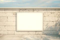 Hängande konkret tegelsten för affischtavla Arkivfoton
