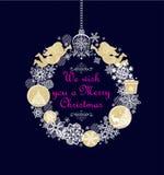 Hängande krans för Xmas-hantverk med handgjorda guld- änglar, gåva, struntsaker, papper som klipper den vita snöflingor och klirr vektor illustrationer