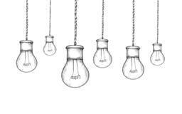 Hängande lampor i industriell stil vektor illustrationer