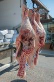 Hängande levereras för nytt kött. Arkivfoton