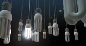 Hängande Lightbulb för ledarskap Fotografering för Bildbyråer