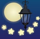 Hängande lykta på bakgrunden med månen och stjärnor vektor illustrationer