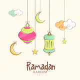 Hängande lyktor, månar och stjärnor för Ramadan Kareem stock illustrationer