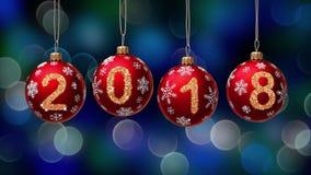 Hängande nummer 2018 blänker julbollar på blå bokehbakgrund 4K lager videofilmer