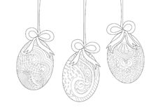 Hängande påskägg med pilbågelinjen Art Drawing stock illustrationer