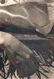 hängande sepiasignal för hand Royaltyfria Bilder