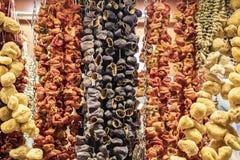 Hängande sortiment av torkade grönsaker fotografering för bildbyråer