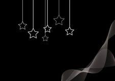 Hängande stjärnor en den svarta tapeten royaltyfri illustrationer