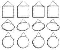 Hängande tecken eller ramar för klotterstil royaltyfri illustrationer