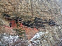 Hängande tempel i det Shanxi landskapet i Kina Arkivbild