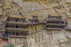 Hängande tempelHenshang berg Arkivbild
