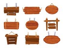 Hängande wood tecken Tomma antika träteckenbräden Retro isolerad vektoruppsättning för tecknad film skylt stock illustrationer
