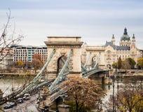 Hängebrücke über der Donau Stockbild