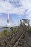 Hängebrücke über der Weichsel Stockfotografie